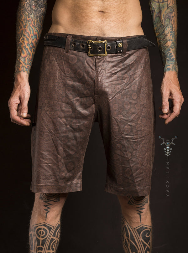 Skate Short Men / Fake Leather _ NEBULA - Yacxilan Artwear