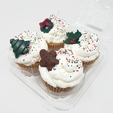 4 Pack of Christmas Cupcake Candles