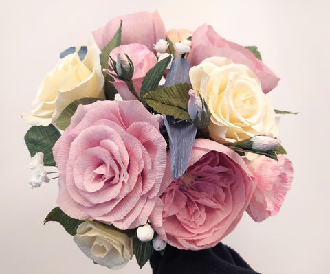 paper wedding bouquets, roses, peony, wedding flowers, blush pink roses