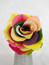 Load image into Gallery viewer, Handmade Paper Flowers | Paper Roses | 1st Anniversary Wedding Gift | Realistic Paper Flowers | Wedding Cake Flowers | Rainbow Roses | PRIDE | Eco Sustainable Flowers - Parks Florist, Creating bespoke, handmade , realistic paper flowers in Dorset, UK. Unique paper flowers for weddings and special occasions such as first wedding anniversaries. Perfect alternative for sustainable/zero waste flower lovers