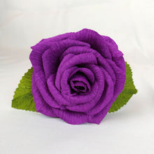 Load image into Gallery viewer, Handmade Paper Flowers | Paper Roses | 1st Anniversary Wedding Gift | Realistic Paper Flowers | Wedding Cake Flowers | Purple Roses | Eco Sustainable Flowers - Parks Florist, Creating bespoke, handmade , realistic paper flowers in Dorset, UK. Unique paper flowers for weddings and special occasions such as first wedding anniversaries. Perfect alternative for sustainable/zero waste flower lovers