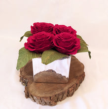 Load image into Gallery viewer, Red Rose Gift Vase | Red Paper Roses | 1st Wedding Anniversary Gift | Paper Flowers, Creating bespoke, handmade , realistic paper flowers in Dorset, UK. Unique paper flowers for weddings and special occasions such as first wedding anniversaries. Perfect alternative for sustainable/zero waste flower lovers