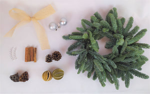 Christmas Wreath | Dorset Florist | Christmas Flowers Dorset | Blandford | Dorchester | Christmas Craft | Make your own christmas Wreath | Wreath Kit | Silver Christmas Decorations | Christmas Door | Christmas Wreath Traditional | Pine Cones | Cinnamon | Seed Heads | Christmas Kit Layout