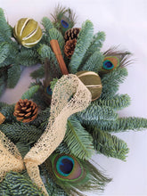 Load image into Gallery viewer, Beautiful Christmas Wreath | Peacock Feather Christmas Wreath | Christmas Wreath | Real Christmas Wreath