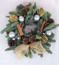 Load image into Gallery viewer, Christmas Wreath | Dorset Florist | Christmas Flowers Dorset | Blandford | Dorchester | Christmas Craft | Make your own christmas Wreath | Wreath Kit | Silver Christmas Decorations | Christmas Door | Christmas Wreath Traditional
