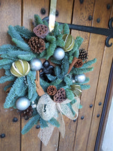Load image into Gallery viewer, Christmas Wreath | Dorset Florist | Christmas Flowers Dorset | Blandford | Dorchester | Christmas Craft | Make your own christmas Wreath | Wreath Kit | Silver Christmas Decorations | Christmas Door | Christmas Wreath Traditional | Pine Cones | Cinnamon | Seed Heads | Christmas Kit Layout