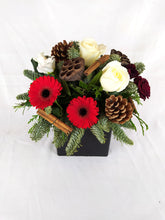 Load image into Gallery viewer, Christmas table centrepiece, Christmas table decorations, Table flowers, Christmas table flowers, Christmas flower arrangement, Christmas flowers Dorset, Christmas fresh flowers Dorchester, Christmas flowers Blandford, Christmas flower bouquets, festive flowers, poinsettia UK, florist Dorset, Garlands, wreaths, fireplace decorations, fireplace flowers, red and gold flowers Christmas, flower swag, flowers garland, Christmas garland, Dorset. Parks Florist