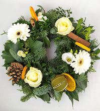 Load image into Gallery viewer, White Christmas Table Centrepiece | White Flower Wreath