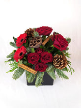 Load image into Gallery viewer, Christmas table centrepiece, Christmas table decorations, Table flowers, Christmas table flowers, Christmas flower arrangement, Christmas flowers Dorset, Christmas fresh flowers Dorchester, Christmas flowers Blandford, Christmas flower bouquets, festive flowers, poinsettia UK, florist Dorset, Garlands, wreaths, fireplace decorations, fireplace flowers, red and gold flowers Christmas, flower swag, flowers garland, Christmas garland, Dorset. Remote christmas gifts. Parks Florist.