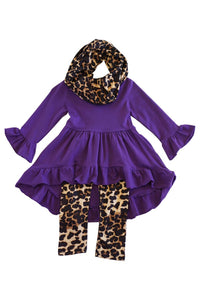 Purple  leopard print 3 pcs scarf set SJT-012207