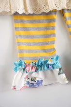 Load image into Gallery viewer, Mustard teal ruffle stripe set CKTZ-012275