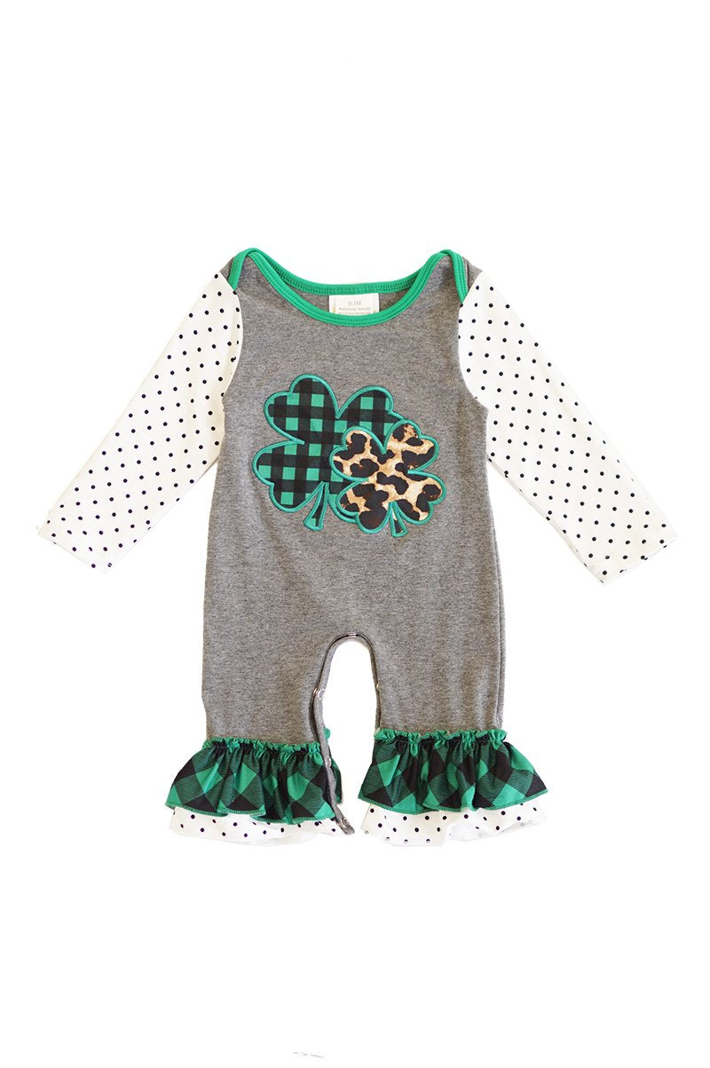 Grey clover plaid appliqye baby romper CXPPF-012503 sale