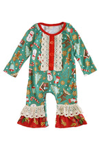 Load image into Gallery viewer, Green christmas print ruffle baby romper 150341