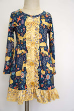 Load image into Gallery viewer, Navy mustard fox print ruffle dress 150359