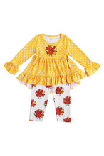 Load image into Gallery viewer, Mustard turkey ruffle tunic with pants set 150384