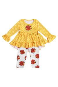 Mustard turkey ruffle tunic with pants set 150384
