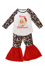 Load image into Gallery viewer, Leopard maroon Santa bell pants set 150426
