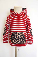 Load image into Gallery viewer, Maroon stripe leopard hoodie top 168046