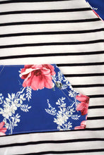 Load image into Gallery viewer, Blue stripe floral hoodie top 168058