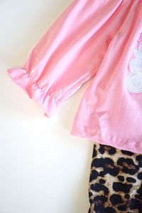 Pink santa applique tunic with leopard bell pants set CKTZ-190092