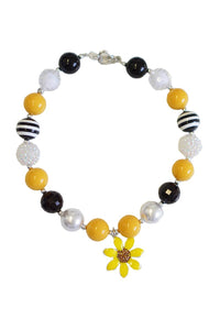 Chunky beads bubble sunflower pendant necklace