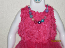 Load image into Gallery viewer, Fuschia Tulle and Flower Dress Size L