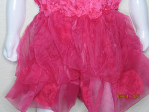 Fuschia Tulle and Flower Dress Size L