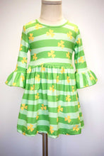 Load image into Gallery viewer, Green stripe clover print bell sleeve dress CXQZ-204025 sale