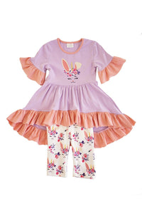 Purple bunny easter ruffle tunic with capri shorts set ZKTZ-204062 sale