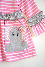 Load image into Gallery viewer, Pink stripe elephant applique ruffle dress QZ-319532