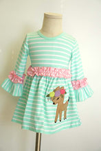 Load image into Gallery viewer, Blue stripe deer applique ruffle dress QZ-319656