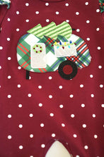 Load image into Gallery viewer, Maroon polkadot camper applique baby romper DXPPF-319606