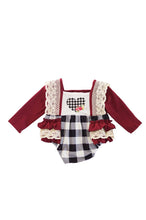 Load image into Gallery viewer, Maroon plaid heart lace ruffle romper DXPPF-319655