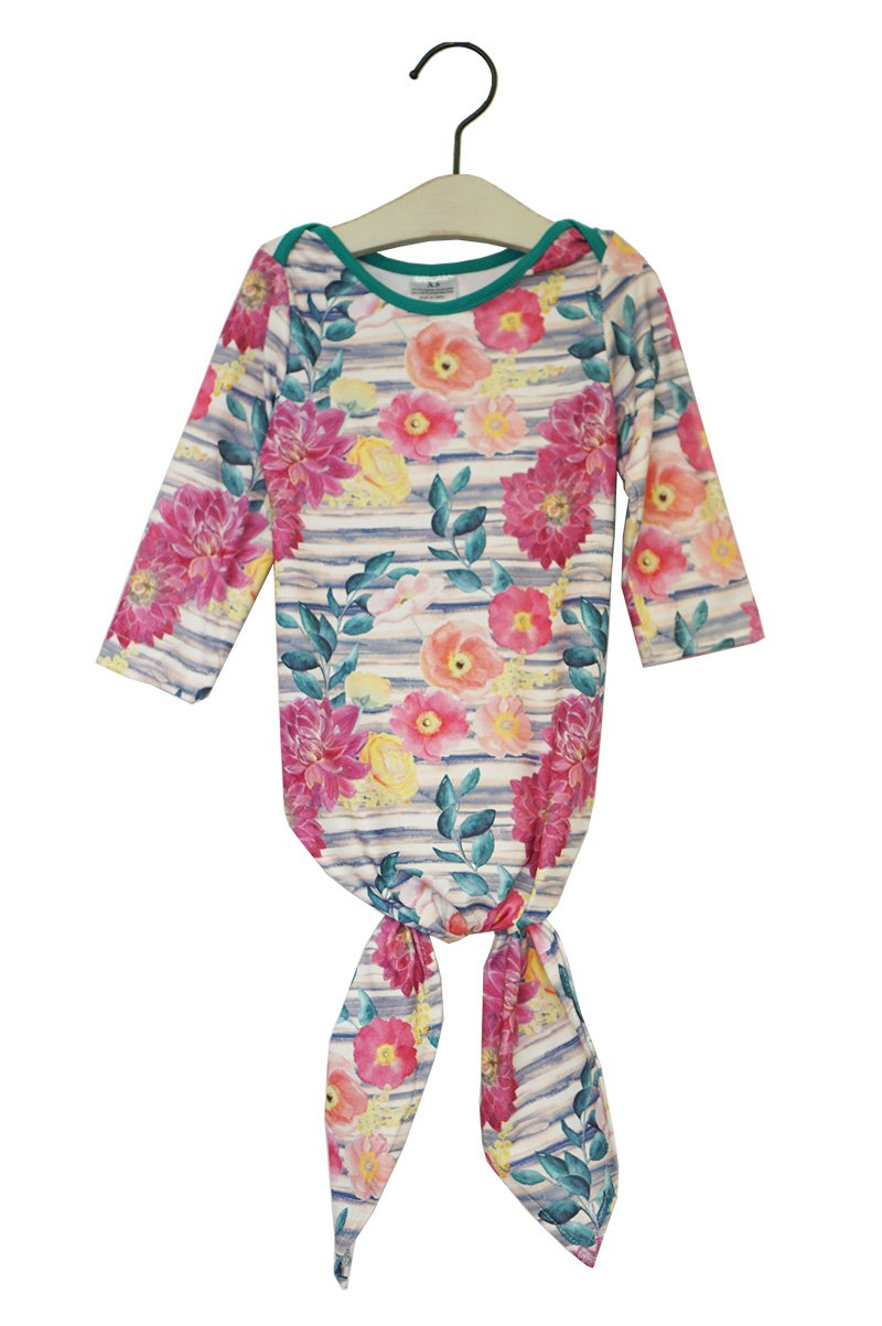 Floral tie bottom baby gown