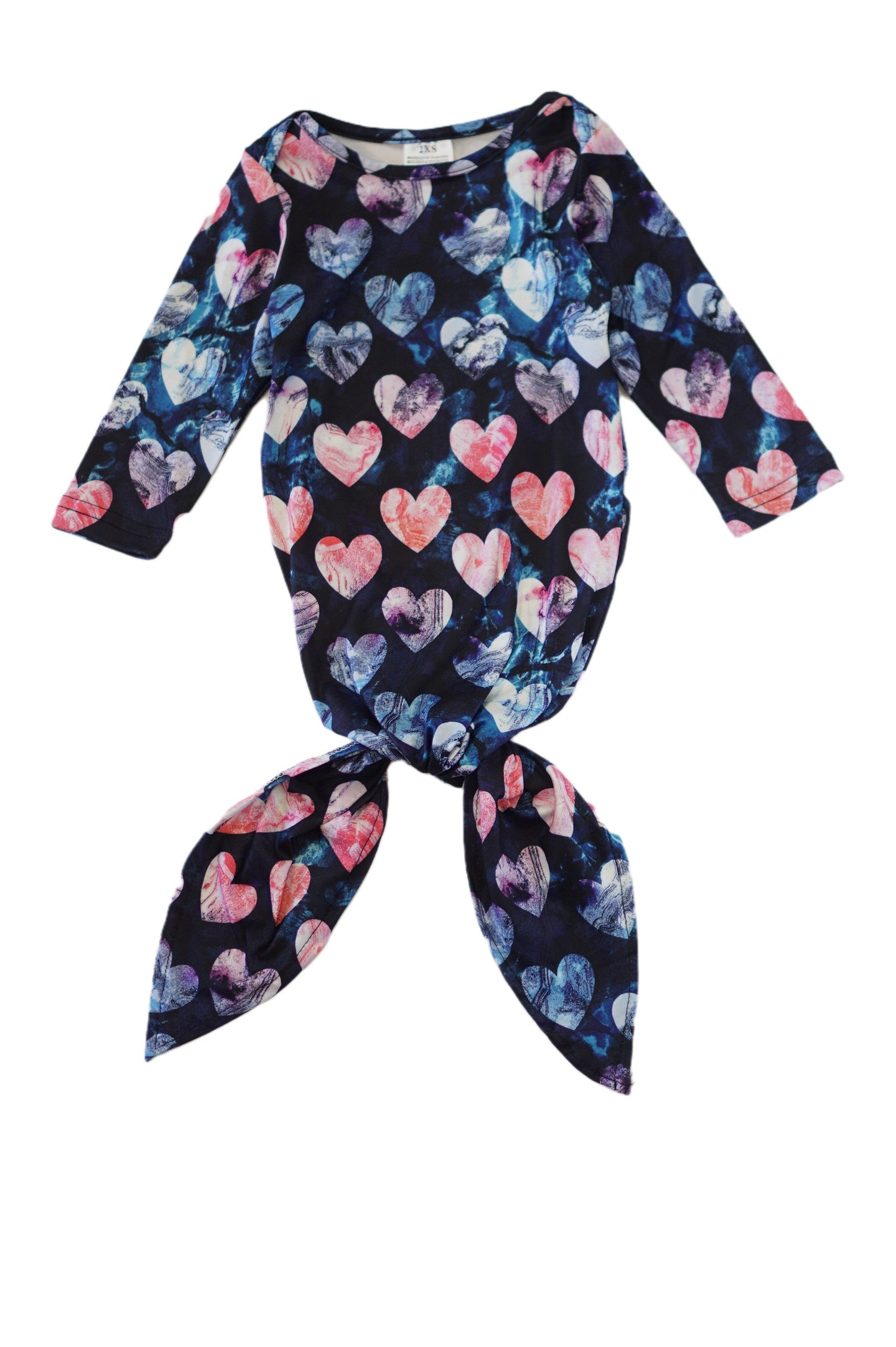 Tie dye hearts baby gown