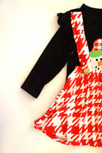 Load image into Gallery viewer, Black snowman top with red houndstooth suspender skirt set CXQTZ-400594 sale