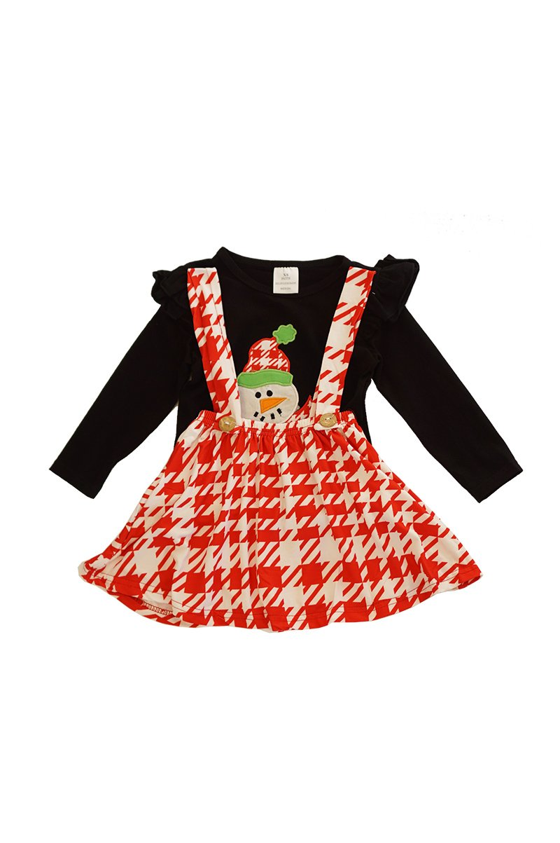 Black snowman top with red houndstooth suspender skirt set CXQTZ-400594 sale