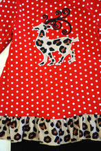 Load image into Gallery viewer, Red polkadot leopard reindeer tunic pants set  CXCKTZ-400880