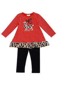 Red polkadot leopard reindeer tunic pants set  CXCKTZ-400880
