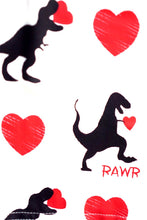 Load image into Gallery viewer, Valentine's Day Red Raglan shirt heart Dinosaur Unisex 503088
