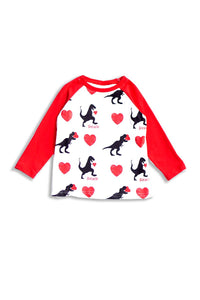 Valentine's Day Red Raglan shirt heart Dinosaur Unisex 503088