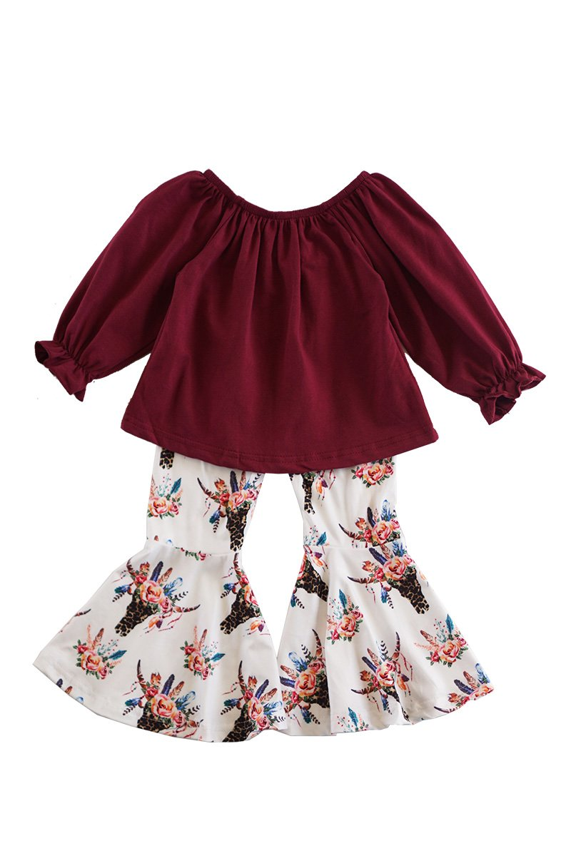 Maroon top with cow skull print bell pants set CXCKTZ-503826