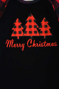 Black red plaid christmas tree raglan shirt CXSY-503980