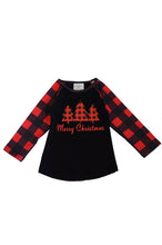 Load image into Gallery viewer, Black red plaid christmas tree raglan shirt CXSY-503980