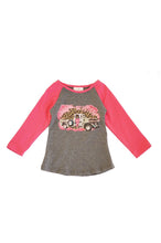 Load image into Gallery viewer, Pink leopard vintage pink up truck raglan shirt CXSY-504032