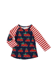 Christmas tree truck raglan shirt CXSY-540181