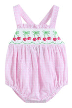 Load image into Gallery viewer, smocked embroidery pink gingham cherry bubble 620021