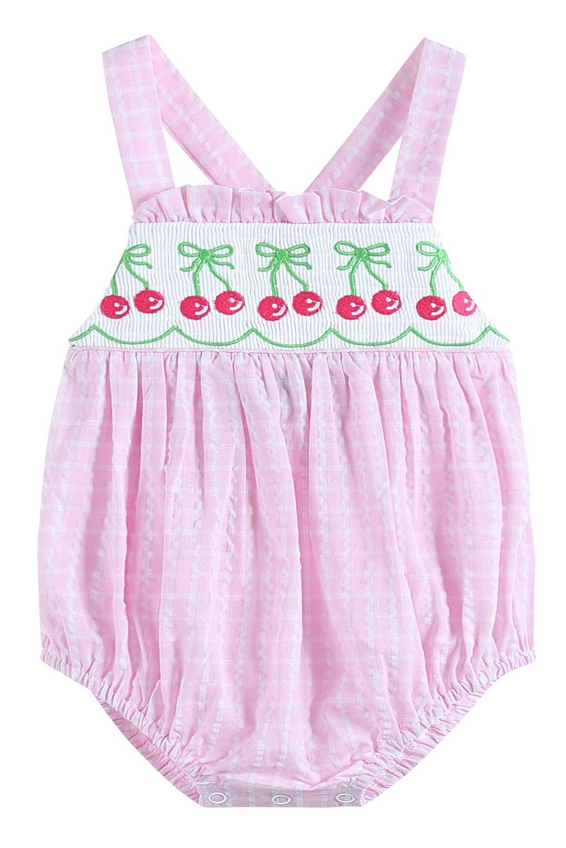 smocked embroidery pink gingham cherry bubble 620021