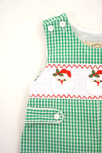 Load image into Gallery viewer, Green gingham smocked santa embroidery jonjon 620036