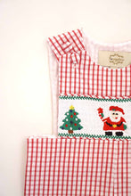 Load image into Gallery viewer, Red gingham smocked santa christmas tree jonjon 620038
